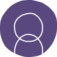 cirkel met paarse achtergrond met abstract persoon icon in witte lijnen
